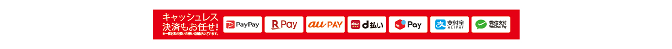 「PayPay」「楽天ペイ」「au PAY」「d払い🄬」「メルペイ」「Alipay(支付宝)」「WeChat Pay(微信支付)」